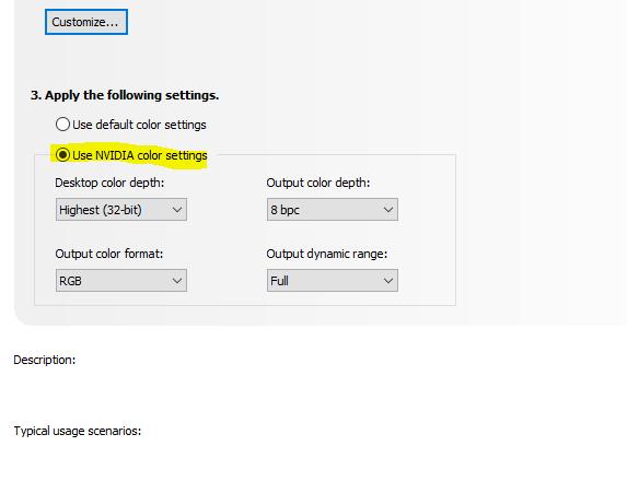 Nvidia settings